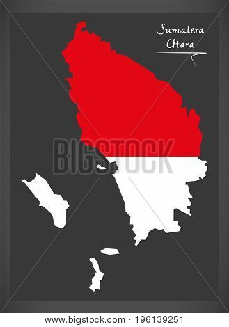 Sumatera Utara Indonesia Map With Indonesian National Flag Illustration