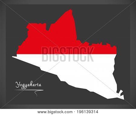 Yogyakarta Indonesia Map With Indonesian National Flag Illustration