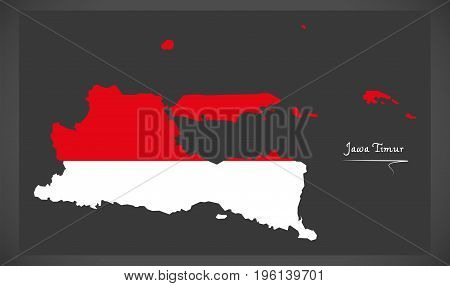 Jawa Timur Indonesia Map With Indonesian National Flag Illustration