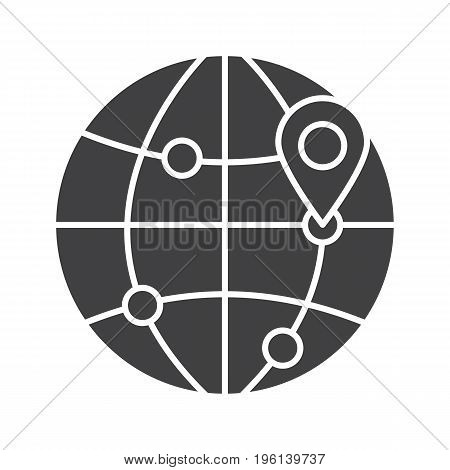 Flight destinations glyph icon. Worldwide travel locations silhouette symbol. Globe model with route points and map pinpoint. Negative space. Vector isolated illustration