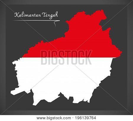 Kalimantan Tengah Indonesia Map With Indonesian National Flag Illustration