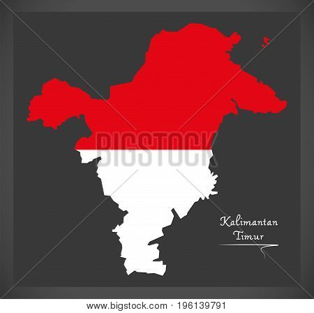 Kalimantan Timur Indonesia Map With Indonesian National Flag Illustration