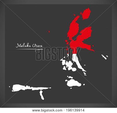 Maluku Utara Indonesia Map With Indonesian National Flag Illustration