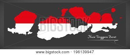 Nusa Tenggara Barat Indonesia Map With Indonesian National Flag Illustration
