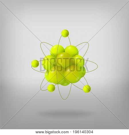 Abstract molecules. Atoms. 3d vector illustration. Science concept. Proton electron and neutron