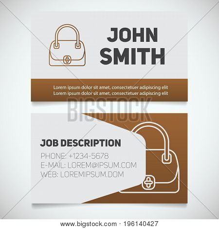 Business card print template with handbag logo. Women's bags shop. Stationery design concept. Vector illustration