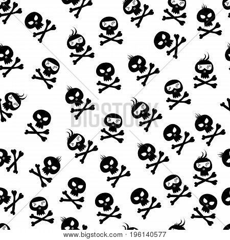 Comic skull and crossbones pattern. Halloween design element. Vector illustration.