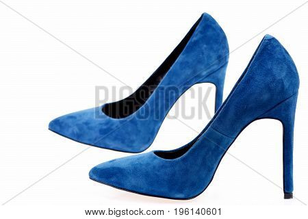 Female Formal Footwear: Fancy Blue Shoes Isolated On White Background
