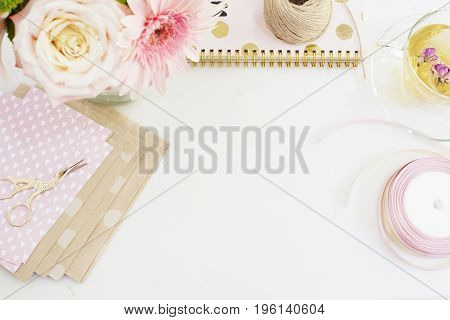 Handmade, Craft Concept. Handmade Goods For Packaging - Twine, Ribbons. Feminine Workplace Concept.
