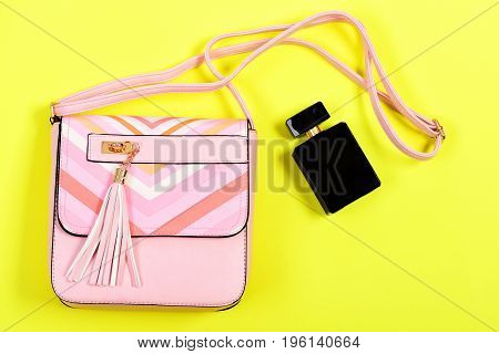 Accessories In Modern Style Isolated On Yellow Background