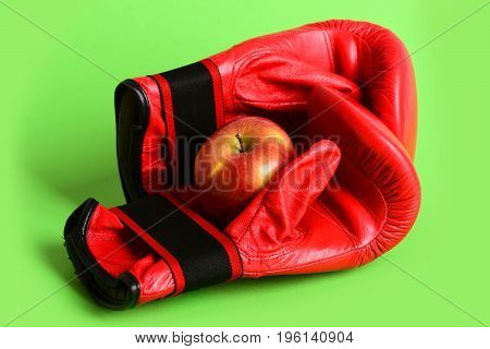 Boxing Gloves In Red Color. Training And Fitness Concept