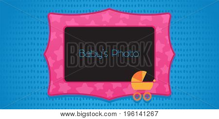 Photo frame collage vector illustration. Design element with stroller and frame template for baby photo collage