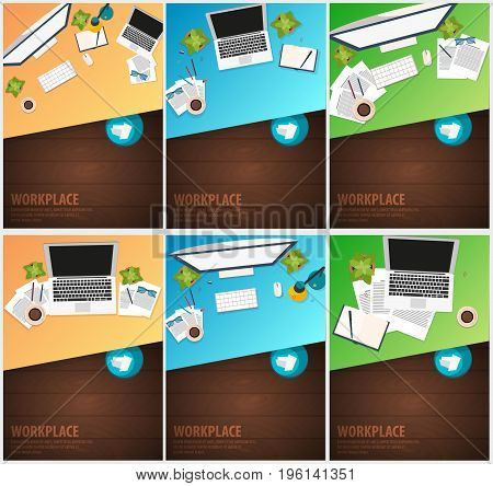 Set Banners Of Freelance Workplace Office, Co-working Centre, University Campus, Modern Workplace.