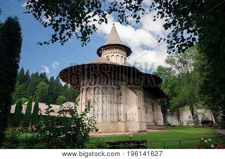 Voronet orthodox painted monastery, Bucovina, listed in UNESCO's list of World Heritage sites