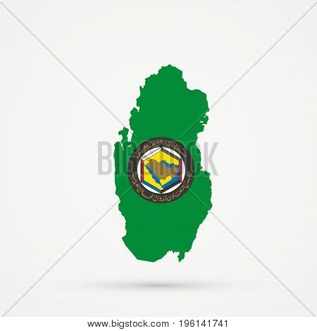 Qatar map in Cooperation Council for the Arab States of the Gulf (GCC) flag colors editable vector.