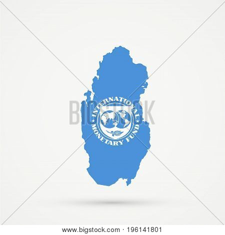 Qatar map in International Monetary Fund (IMF) flag colors editable vector.