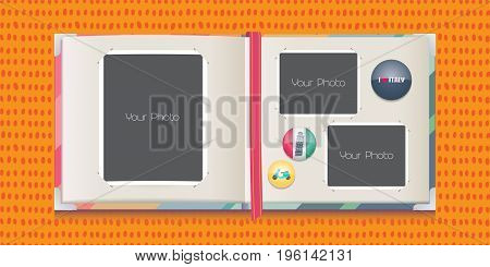 Collage of photo frames vector illustration. Design element of travel icons and photo borders for album or scrapbook