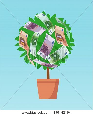Money tree with euro banknotes growing. Business economic investment vector concept