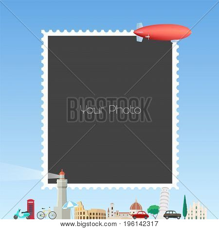 Photo frame collage with cartoon background with zeppelin vector illustration. Easy way to make funny photo collage