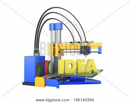 3D Printer Idea Front Yellow Blue 3D Rendering On White Background No Shadow