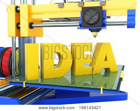 3D Printer Idea Yellow Blue 3D Rendering On White Background No Shadow