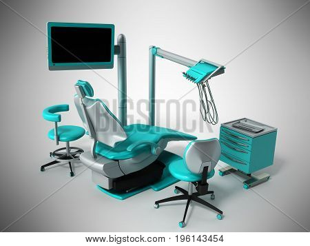 Dental Chair With Blue Bedside Tables 3D Render On Gray Background