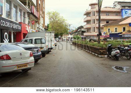 Goa India - March 01 2015: Mahatma Gandi Road in Panjim city