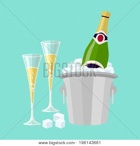 Champagne bottle in bucket with ice and glasses of champagne vector flat glasses of wine art