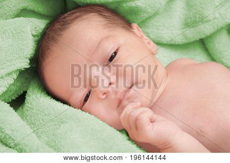 Cute newborn baby boy lying on soft plaid at home
