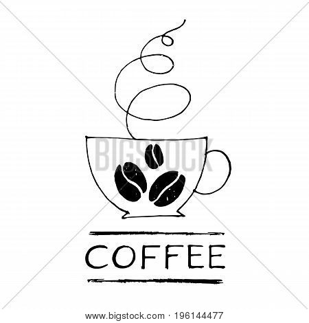 Coffee cup vector logo. Hand-drawn line illustration and lettering. Vector of Coffee shop logo design template. Sketching style. Cafe poster illustration