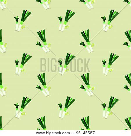 Seamless Background Image Colorful Vegetable Food Ingredient Leek