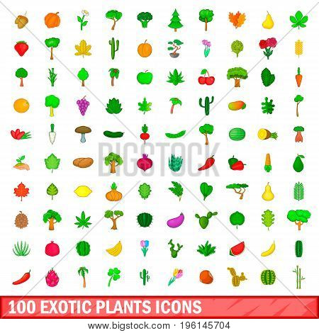 100 exotic plants icons set in cartoon style for any design illustration