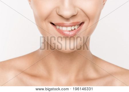 Cropped View Of Beautiful Woman Biting Lip, Isolated On White