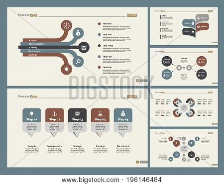 Infographic design set can be used for workflow layout, diagram, annual report, presentation, web design. Business and consulting concept with process and flow charts.