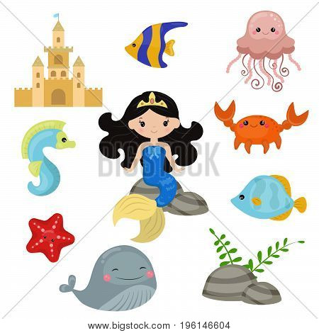 Cute girl mermaid on white background. Mermaid and sea animals made in cartoon style.