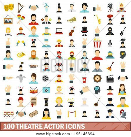 100 theatre actor icons set in flat style for any design vector illustration