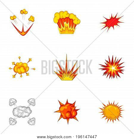 Explosion effect icons set. Cartoon set of 9 explosion effect vector icons for web isolated on white background