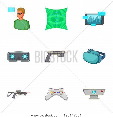 Sports games in virtual reality icons set. Cartoon set of 9 sports games in virtual reality vector icons for web isolated on white background