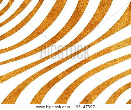 Golden Painted Curved Striped Background.