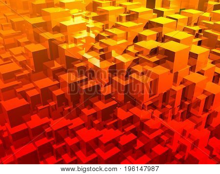 Bright abstract red cubes. 3d illustration. Colorful creative background. Geometric wall.