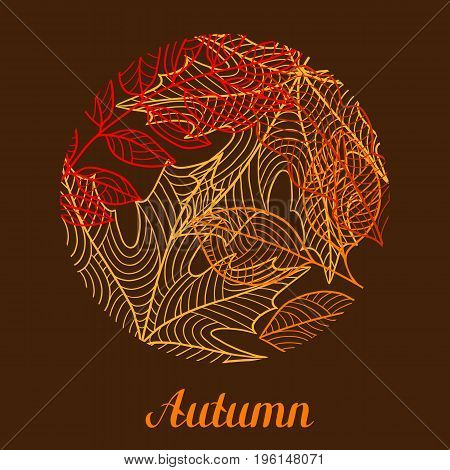 Floral background with stylized autumn foliage. Falling leaves.