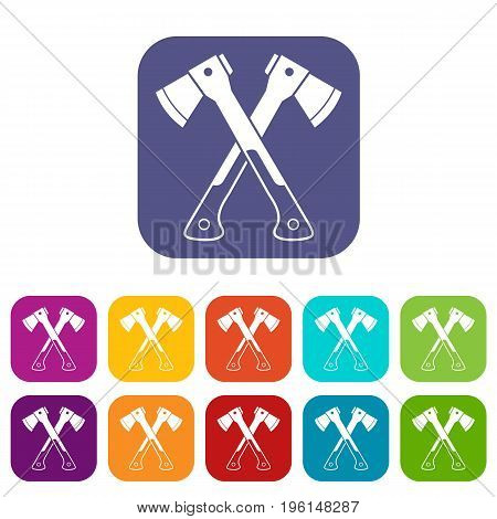 Crossed axes icons set vector illustration in flat style in colors red, blue, green, and other