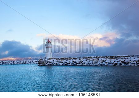 Winter view of a lighthouse in Trondheim