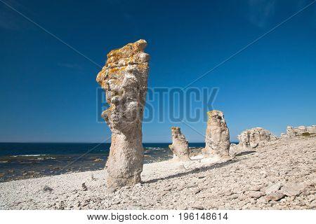 limestone pillars at Faro island Sweden