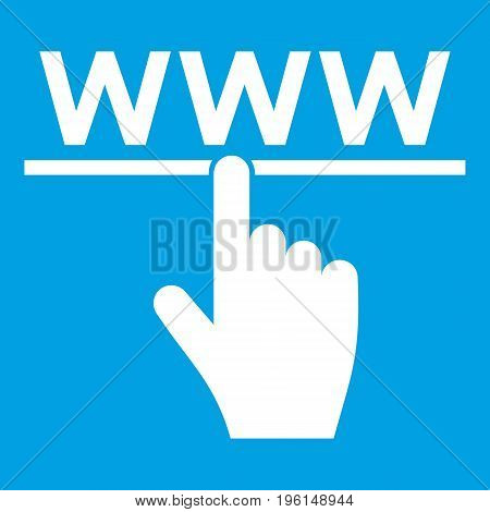 Hand cursor and website icon white isolated on blue background vector illustration
