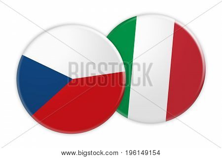 News Concept: Czech Republic Flag Button On Italy Flag Button 3d illustration on white background