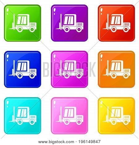 Stacker loader icons of 9 color set isolated vector illustration