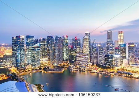 Landscape of the Singapore financial district and business building Singapore City