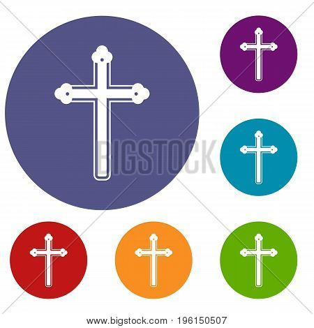 Holy cross icons set in flat circle red, blue and green color for web