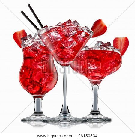 Fresh fruit alcohol cocktail or mocktail in classic glasses with red beverage and ice cubes isolated on white background.